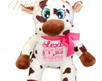 Personalized stuffed animal shop canada by crownminkyblankets personalized stuffed animal cow embroidered stuffed animal birth announcement baby gift negle Images
