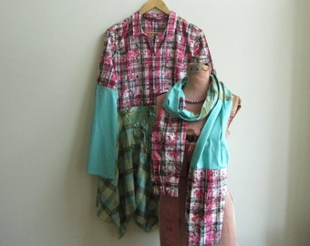 Plus Size Plaid Shirt Dress, Country Girl Boho Chic Clothing, Upcycled Recycled Tunic Top, Tattered Shabby Chic, Gypsy Soul Festival Fashion