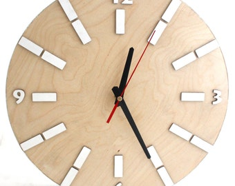 """Plywood Wall Clock White Natural, Wood large clock 13"""", Modern wall decor, Circle White Wall hanging clock, Office Wall decor, Gift for Mom"""
