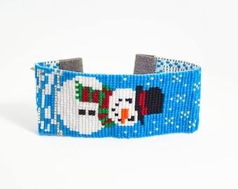 Snowman Bracelet - Beaded Bracelet - Christmas Bracelet - Seed Bead Bracelet - Womens Gifts - Holiday Bracelet - Under 40 - Gifts For Her