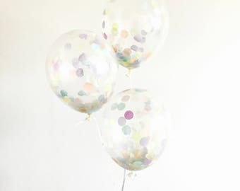 Pastel Rainbow Confetti Balloon - Unicorn Birthday Party Decoration, Rainbow Wedding Decor, Sprinkle Baby shower, Photoshoot Prop