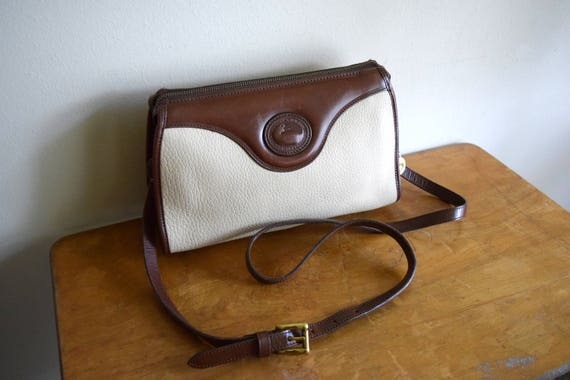 Vintage Dooney & Bourke Bone / Dark Brown Leather Crossbody Purse