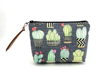Cactus Pouch, Small Cosmetic Bag, Gray Zipper Pouch, Ouch Pouch, Accessory Bag, Small Clutch, Padded Pouch, Gift for her
