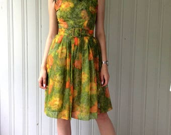 vintage 1960s Dress Floral Chiffon Party Dress Bridesmaid Sleeveless Belted Full skirt Size Medium