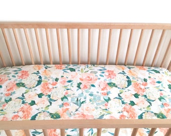 Crib Sheet Peaches and Cream. Coral/Orange/Peach. Fitted Crib Sheet. Baby Bedding. Crib Bedding. Crib Sheets. Floral Crib Sheet.