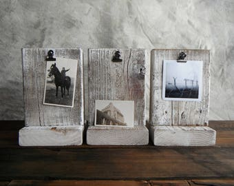 Weathered Wood Photo Block - White Washed
