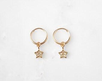 Tiny CZ Star Hoop Earrings * gold star earrings,silver star earrings,huggie star cuffs,north star earrings,north star hoops,small star hoops