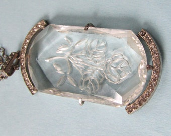 Vintage carved crystal Intaglio pendant,  Czech, possible 1920s-silver metal and crystal pendant Necklace