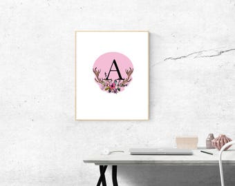 Letter A Personalized decor Nursery decor Nursery print Letter print Monogram print Initial print Personalised print Name print printable ar