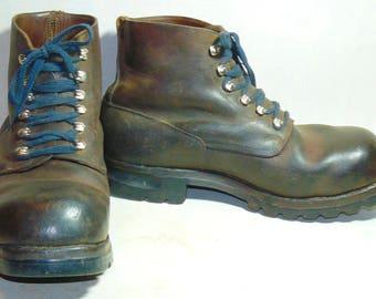 Vintage Raichle Men Leather Hiking Mountaineering Boots Swiss Altdorf 1966 US 10