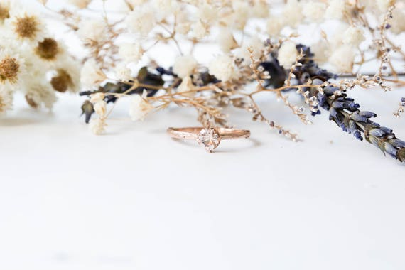 Morganite 14k gold classic engagement ring, solitaire morganite gold engagement ring, vintage inspired twig engagement ring