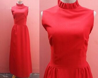 Red Dress 70s Disco Dress Vintage Prom Dress 1970s Party Dress Women Boho Dress Hippie Dress High Collar Polyester Maxi Dress Sleeveless XS
