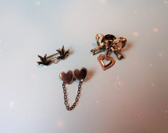 Heart Scatter Pins, 3 Vintage Heart Brooches, Trio of  Hearts, Love Birds Heart, Three Brooches Lot of Jewelry, Gold tone Scatter Pin
