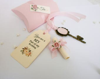 Will you be my Bridesmaid Card Bridemaid Proposal Card with Box Vintage Key Bridesmaid Invitation