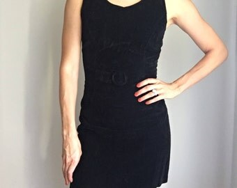 Vintage 90s Geesy Velvet Mini Black LBD Buckle Front Dress Sz 0 XS