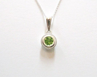 Peridot Necklace, Solitaire Gemstone Pendant in Sterling Silver, August Birthstone Jewelry Minimalist Necklace