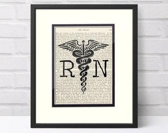 Nursing Graduation Gift - RN over Vintage Medical Book Page - Graduation Gift for Nurse, Nurse Graduation, Nurse Graduation Gift, Nurse Gift