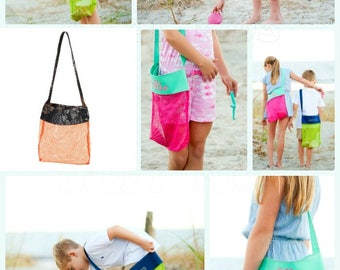 Monogrammed Beach Sea Shell Collecting Tote Bags, Personalization included, Pink Shell Bag, Green Shell Bag, Orange Camo Shell Bag