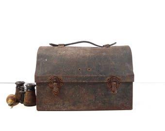 Vintage Metal Lunchbox / Farm Fresh 1910s Handy Andy Lunch Pail / Industrial Storage Decor