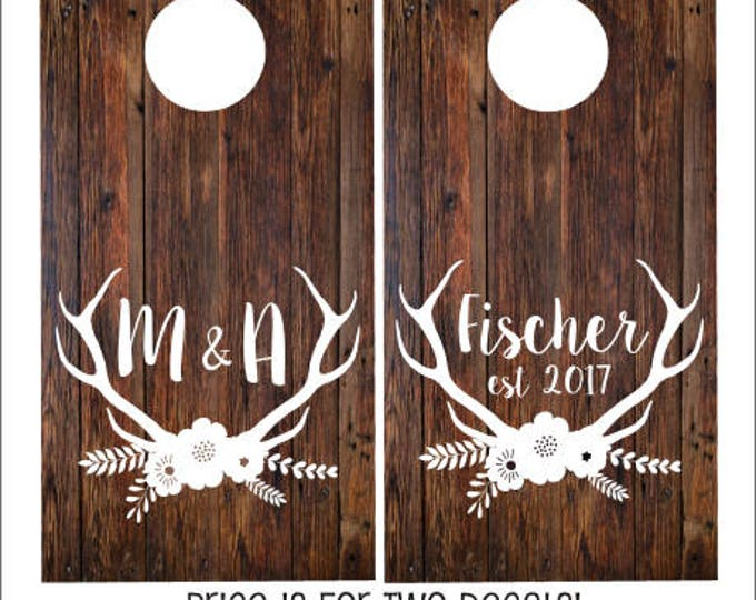 Wedding Cornhole Decals Set of Two Vinyl Decal for Rustic Barn Wedding Antler Country Wedding Floral Personalized Bride Groom Name and Date