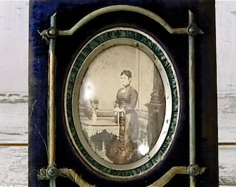 Antique Blue Velvet Picture Frame Bubble Glass with Cabinet Card Early 1900's