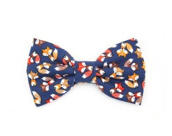 Fox Dog Bow Tie Brown Foxes on Navy Cat Bow Tie Fall Woodland Animal Pet Bowtie