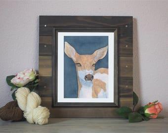 """Watercolor Art Print """"Doubtful"""" - Piebald Deer"""
