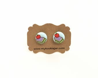 Books Earrings, Book Lover, Books Fabric Button Earrings, Teacher Gift, Teacher Earrings, Teacher Appreciation, Nickel-free, Book Worm