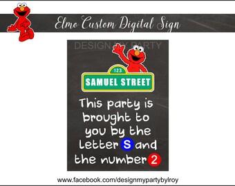 ELMO Chalkboard Sign DIGITAL FILE, Elmo Custom Sign, Elmo Party Supply, Elmo, Elmo Party Printable, Elmo Paper Supply, Chalkboard Sign.