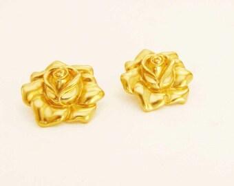 Avon Vintage Rose Gold Pierced Earrings Avon 1980's Earrings