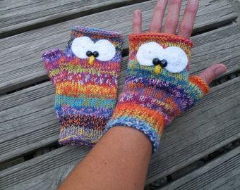 mitaines chouettes tricotées laine multicolore