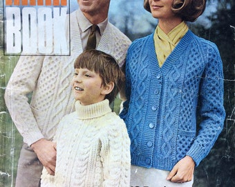 vintage knitting pattern Patons 154 Aran Book family patterns
