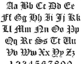 Alphabet Gothic style - 220 x 184 stitches - Alphabet Cross Stitch Pattern Pdf point de croix - INSTANT Download - B532