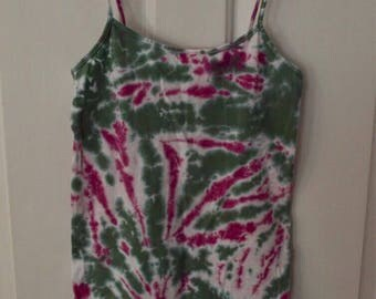 Green and pink tie dye tank top