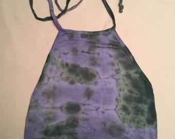 Green and purple tie dye crop halter top