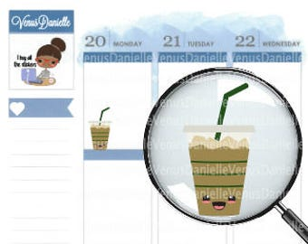 Kawaii Iced Coffee Planner Stickers, Kawaii, Iced Coffee Sticker, Kawaii Stickers, Planner Stickers, Coffee Stickers, Cute Stickers, EC