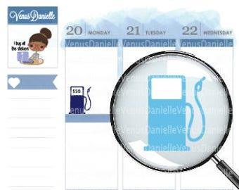 Gas Planner Sticker, Gas Tracker, Gasoline sticker, Icon Stickers, Functional Sticker, Fuel Stickers, Gas Reminder, Gas Icon Stickers