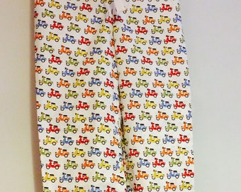 Tall ladies pyjama bottoms - Multi coloured mopeds in white.