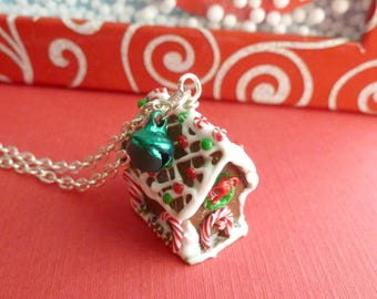 Christmas Gingerbread House Necklace Miniature Food Jewelry Christmas Gifts Christmas Jewelry Polymer Clay Gingerbread House