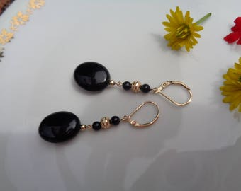 Gold Earrings, 585 gold filled, with Onyx