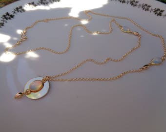 Long 585 gold filled necklace with Opal, double pendant