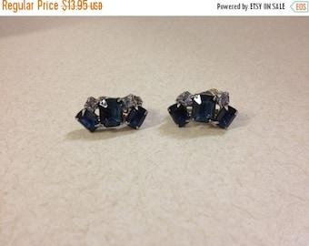 Blue ,clip-on earrings, silvertoned , 2 colored blue, rhinestone, non pierced, vintage  jewelry