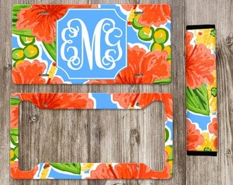 Monogram License Plate, Personalized License Plate, Front Car Tag, Car Plate, Car Accessories, Seat Belt Cover