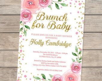 Brunch Baby Shower Invitation, Brunch For Baby Invitation, Floral Pink And Gold Baby Shower Invitation, Baby Brunch Invitation