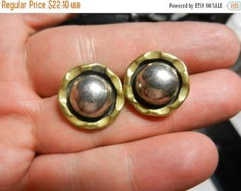 Summer Sale Vintage 925 Sterling Silver Marked Two Tone Earrings Post Backs