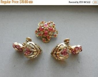 Summer Sale Vintage Pink Flower Costume Jewelry Brooch and Earrings Set