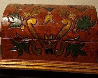 Folk Art Carved Burl Wood Jewelry Box