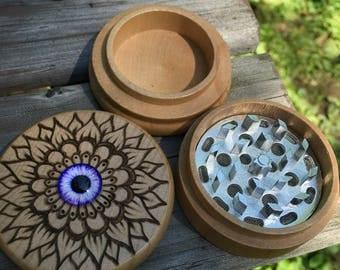 One of a kind third eye grinder, woodburned purple eye herb grinder