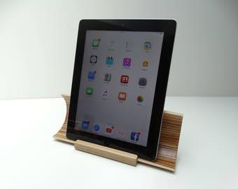 Tablet dock, stand tablet, natural amplifier, tablet amplifier, Zebrano