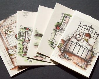 Five Joan Walsh Anglund  blank greetings or note cards Set 2
